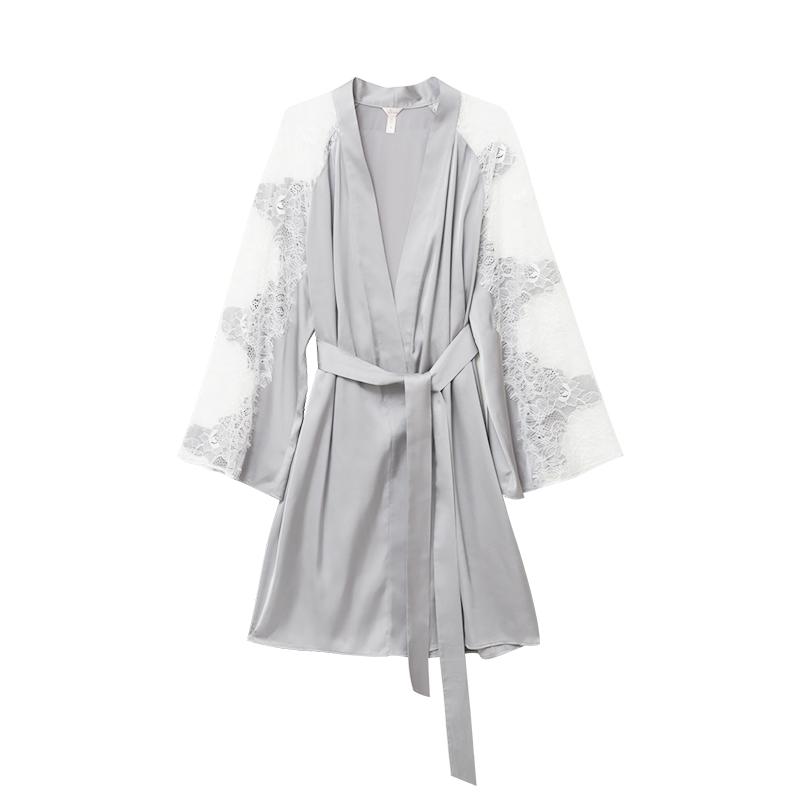 NT重工刺绣蕾丝拼接丝质睡衣