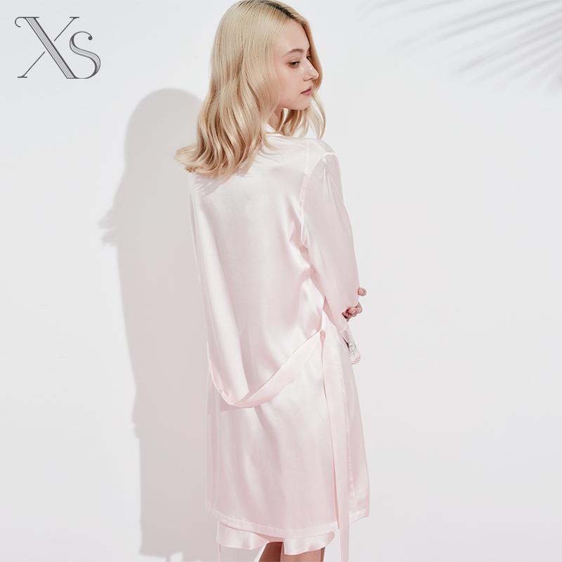 夏季中袖粉色真丝睡袍