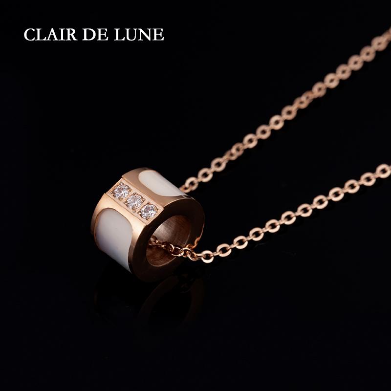 白色玉质感镶钻玫瑰金优雅法式女士项链