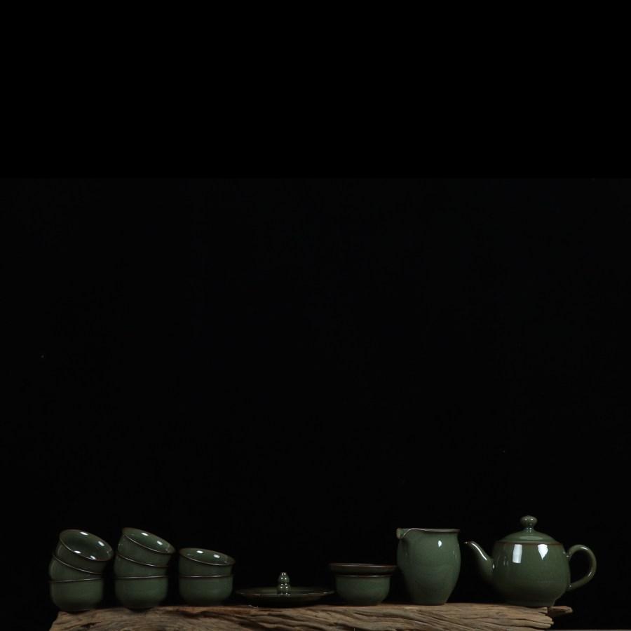 龙泉青瓷手工哥窑铁胎冰裂茶壶茶杯