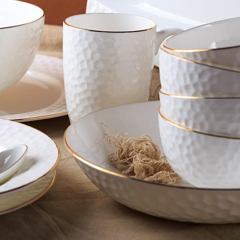 日式家用骨瓷金边盘子碗碟餐具