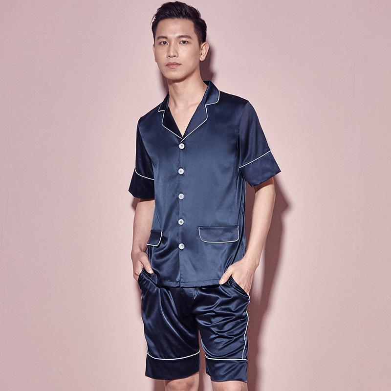 夏季男士丝绸薄款睡衣