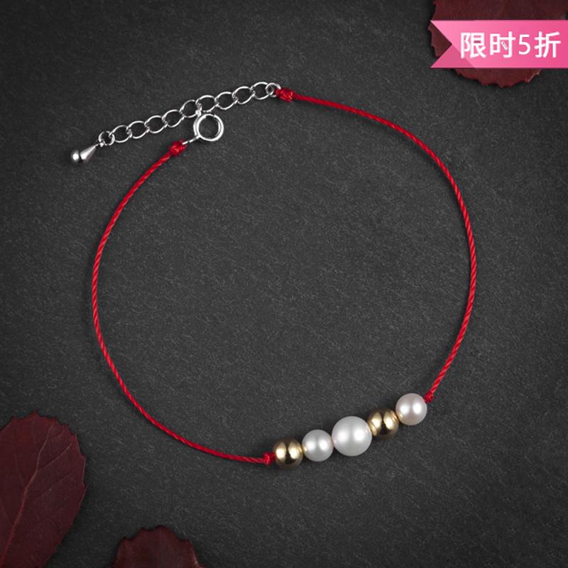 情比金坚•珍珠金珠红绳手链