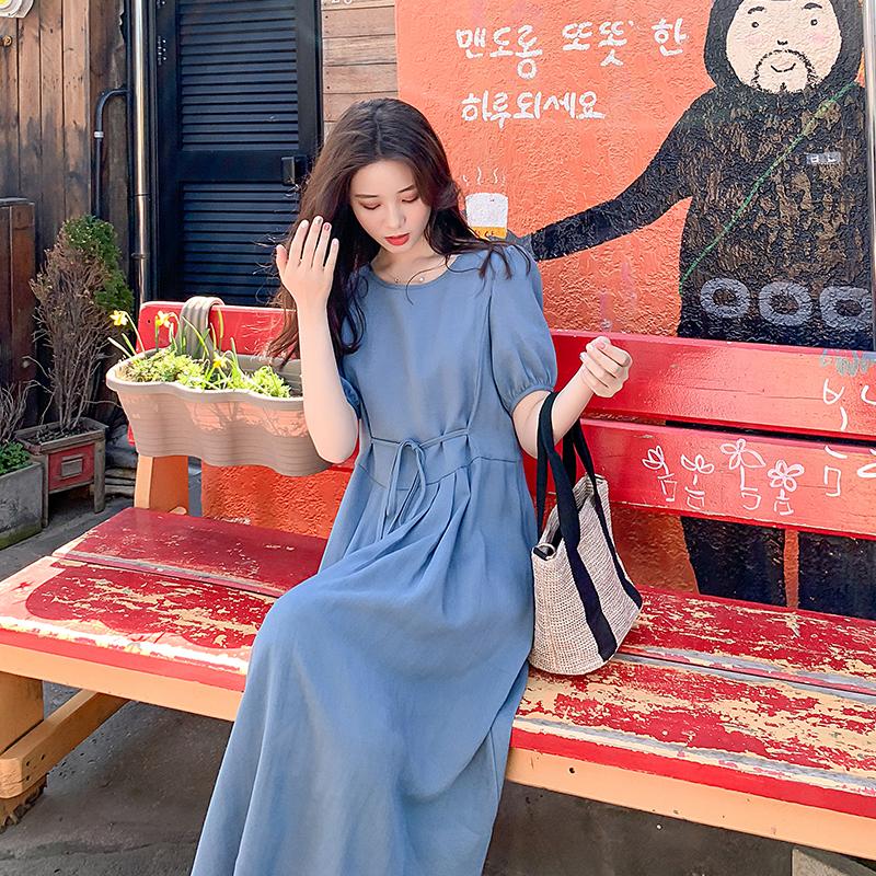 雾霾蓝棉麻连衣裙