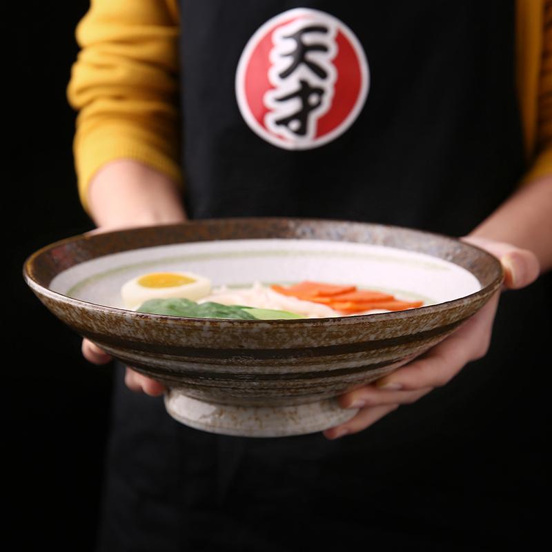 创意日式窑变手绘陶瓷面碗