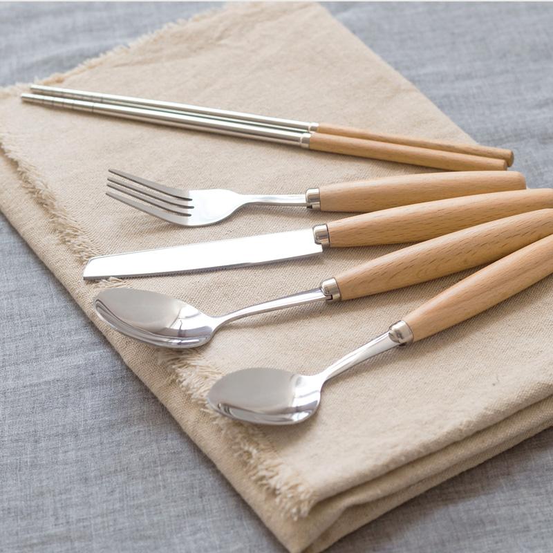 榉木年华木柄西餐刀叉