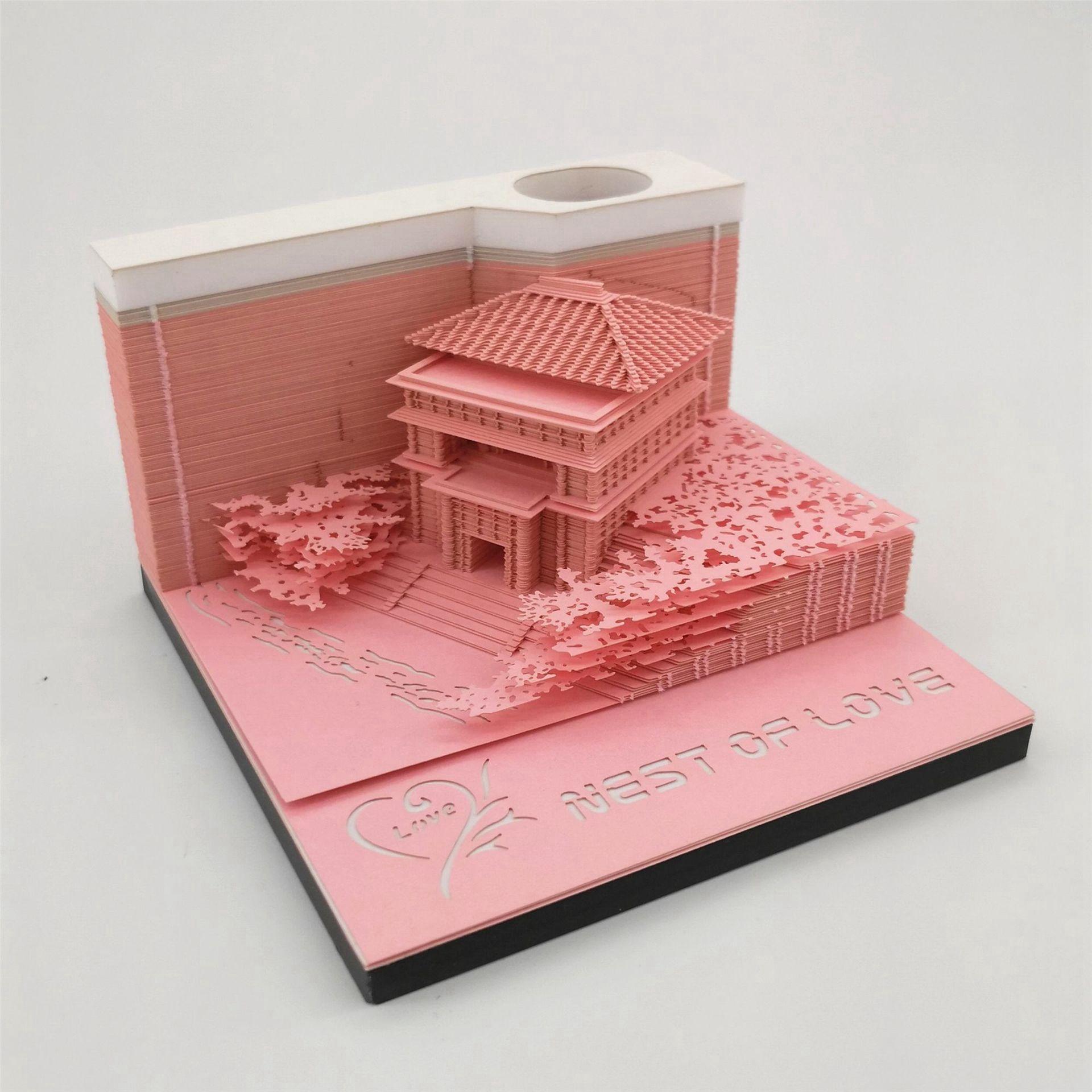 网红3D纸雕模型便签