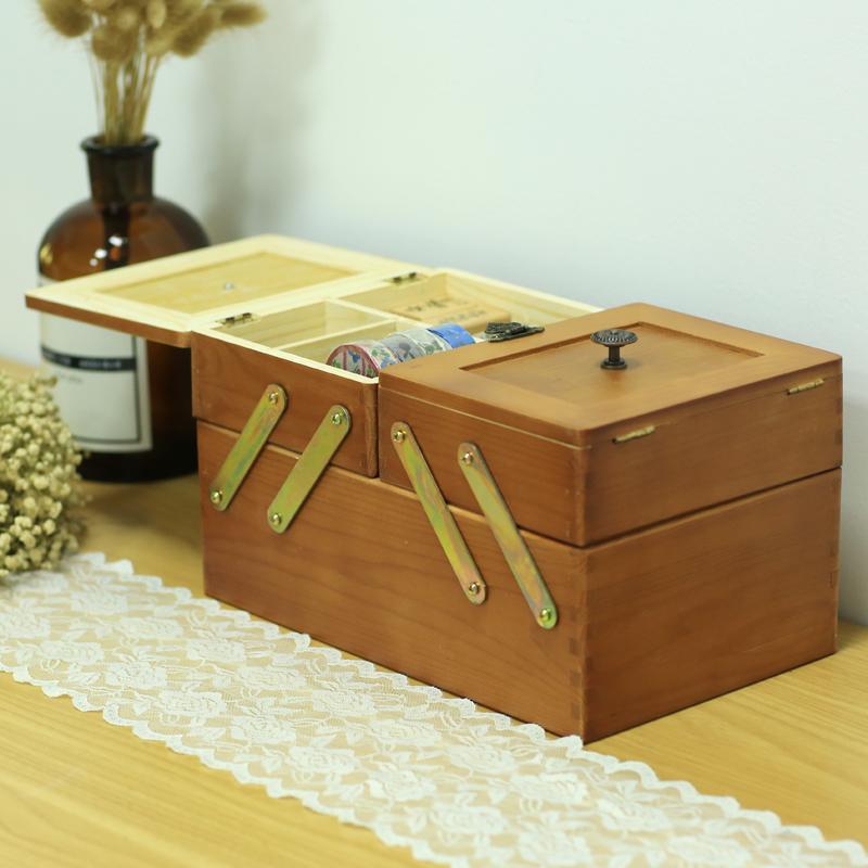 木质双层手帐文具箱