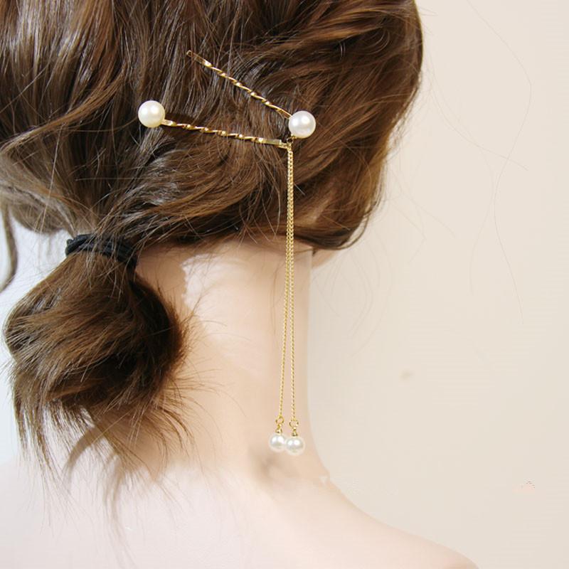 日系少女气质珍珠流苏发卡
