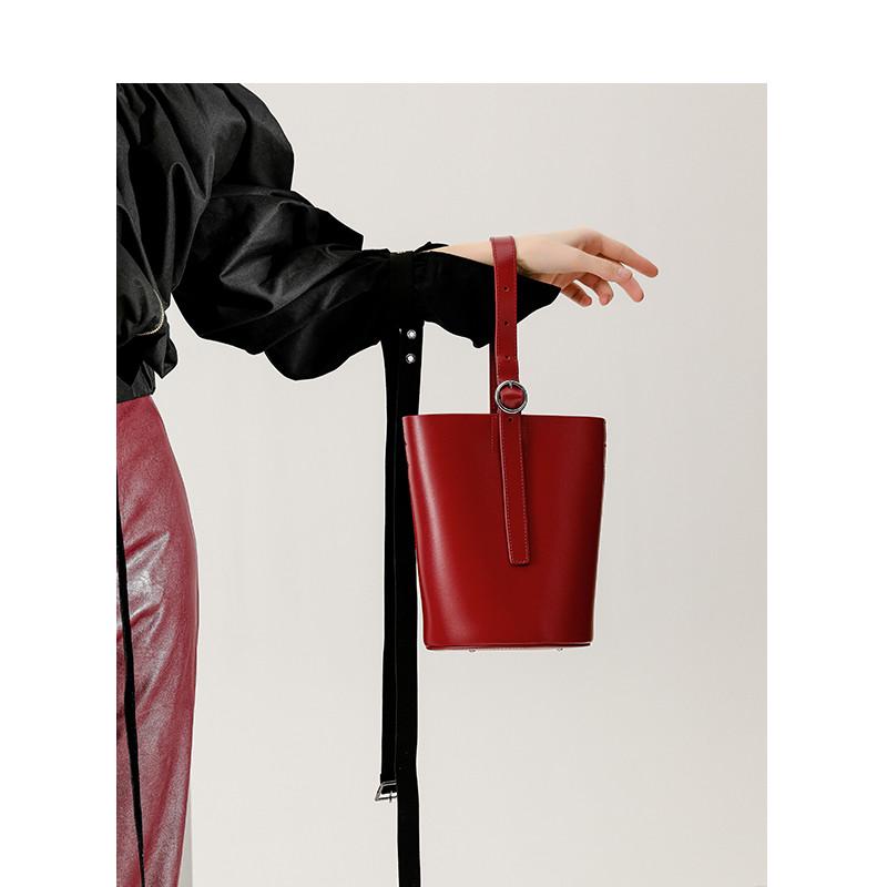 中古复古手提水桶包