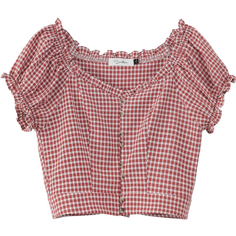 高腰泡泡袖格子衬衫