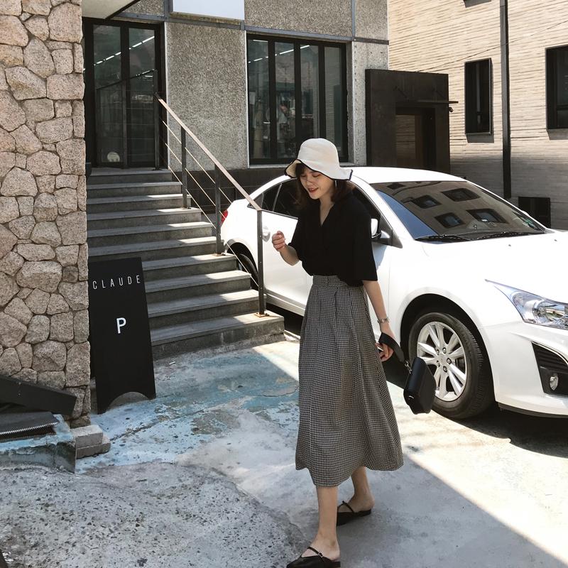 黑白格子半身裙