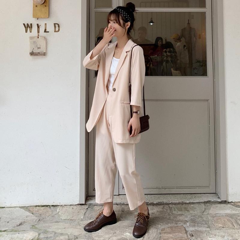 韩版宽松显瘦两件套西装套装