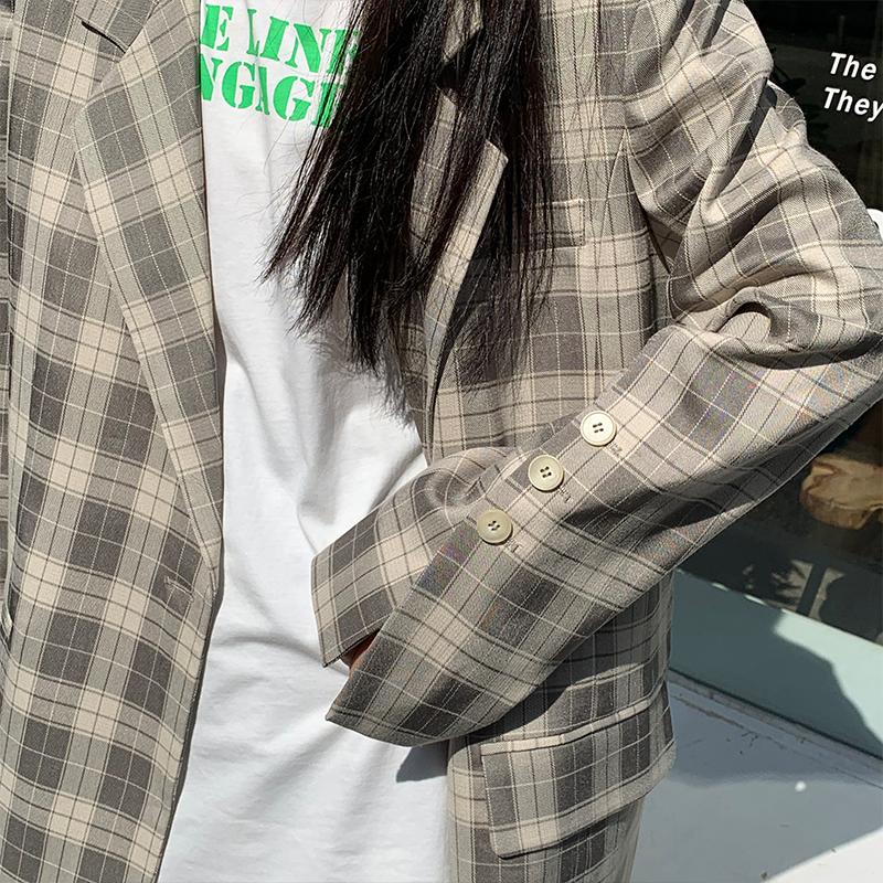 格子小西装+短裤两件套