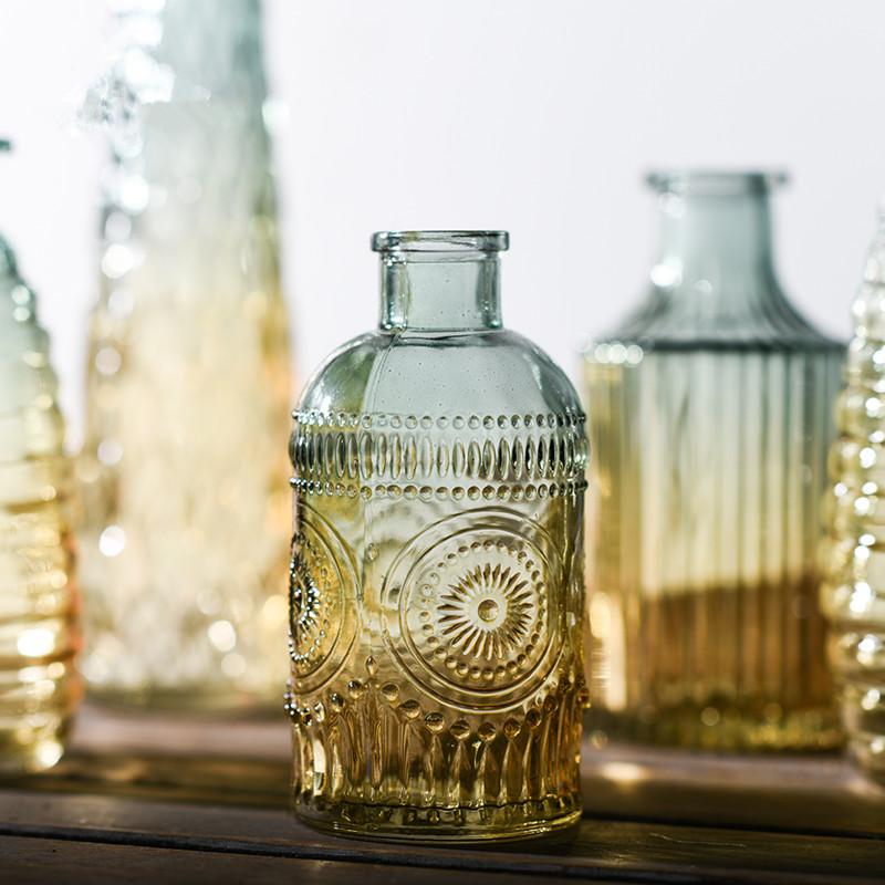 欧式复古浮雕透明玻璃花瓶