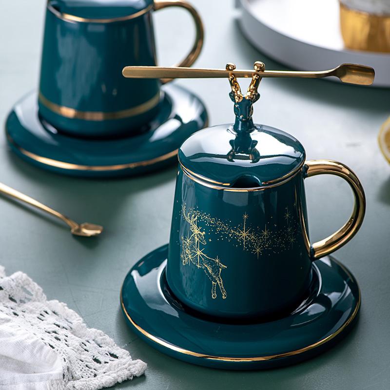 北欧 陶瓷带盖杯子