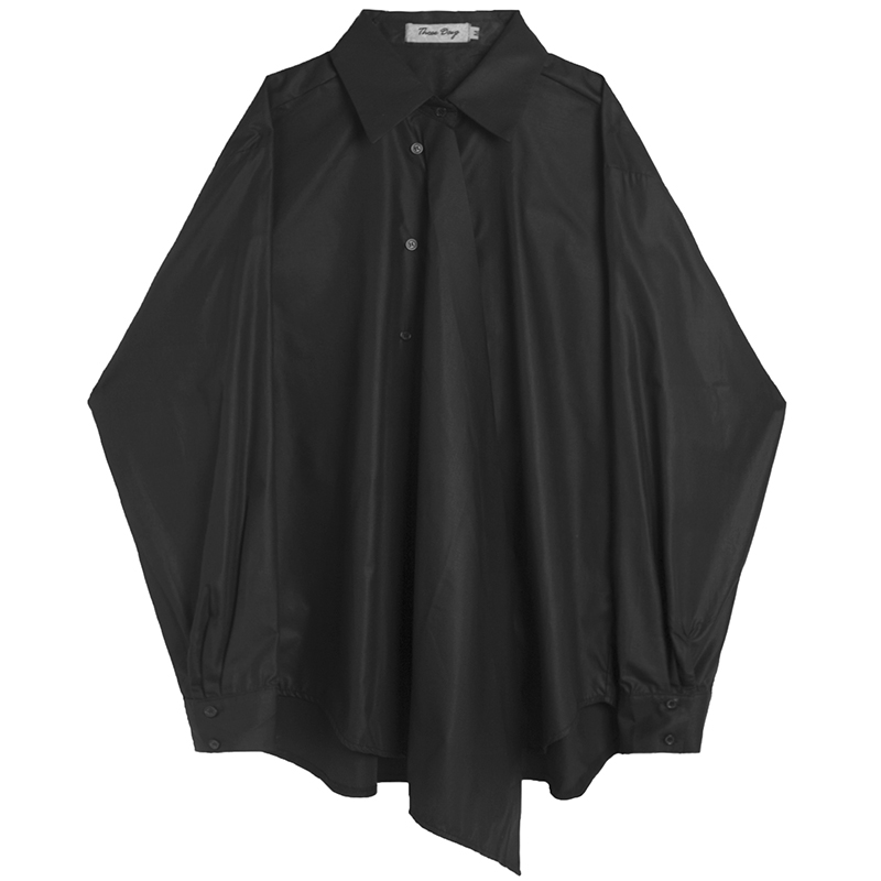 暗黑风不对称宽松衬衫