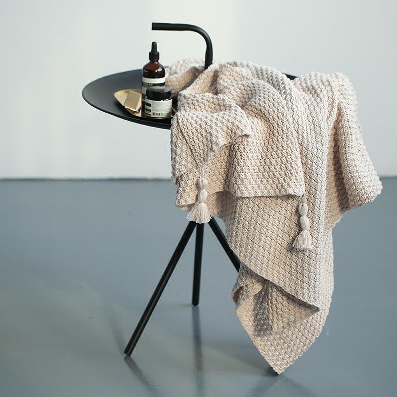 纯色菠萝纹针织盖毯