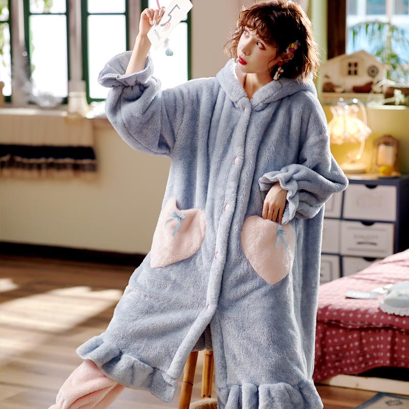加厚珊瑚绒长款睡袍浴袍家居服
