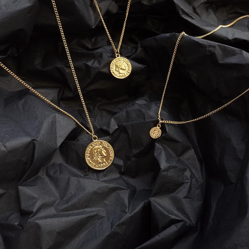 复古人像 金币项链