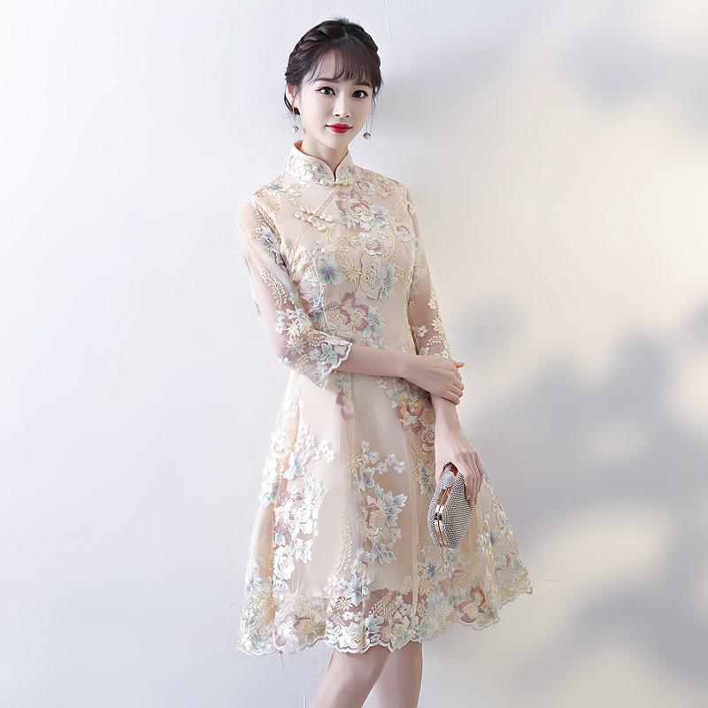 改良版旗袍晚礼服