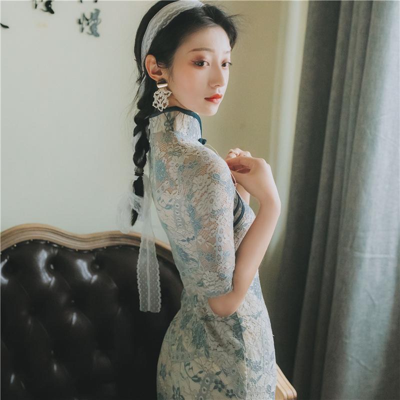蕾丝复古改良版旗袍连衣裙