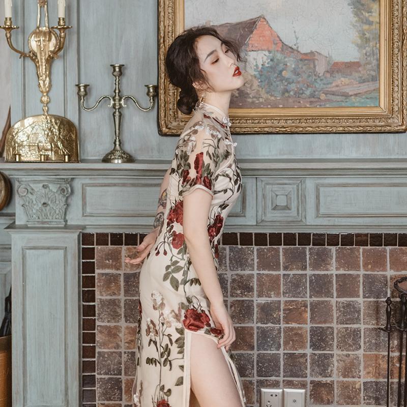 麓津 少女复古刺绣改良版旗袍连衣裙