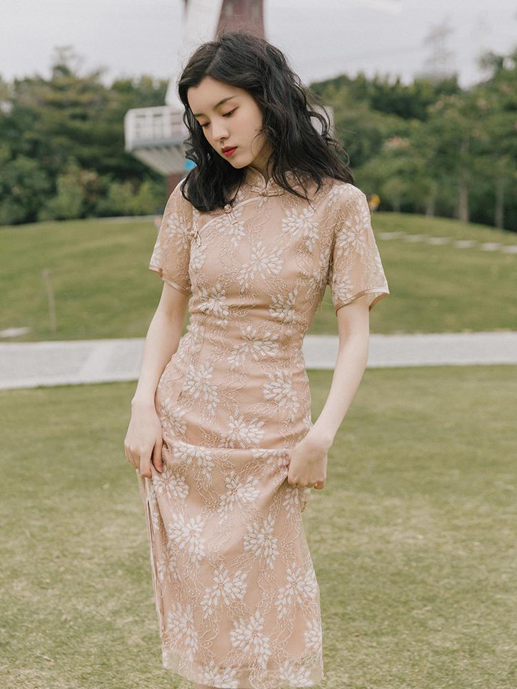 法式桔梗 改良旗袍式连衣裙