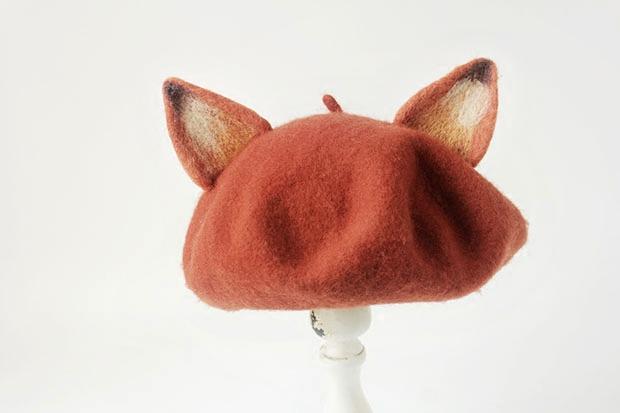 手工羊毛毡 狐狸贝雷帽