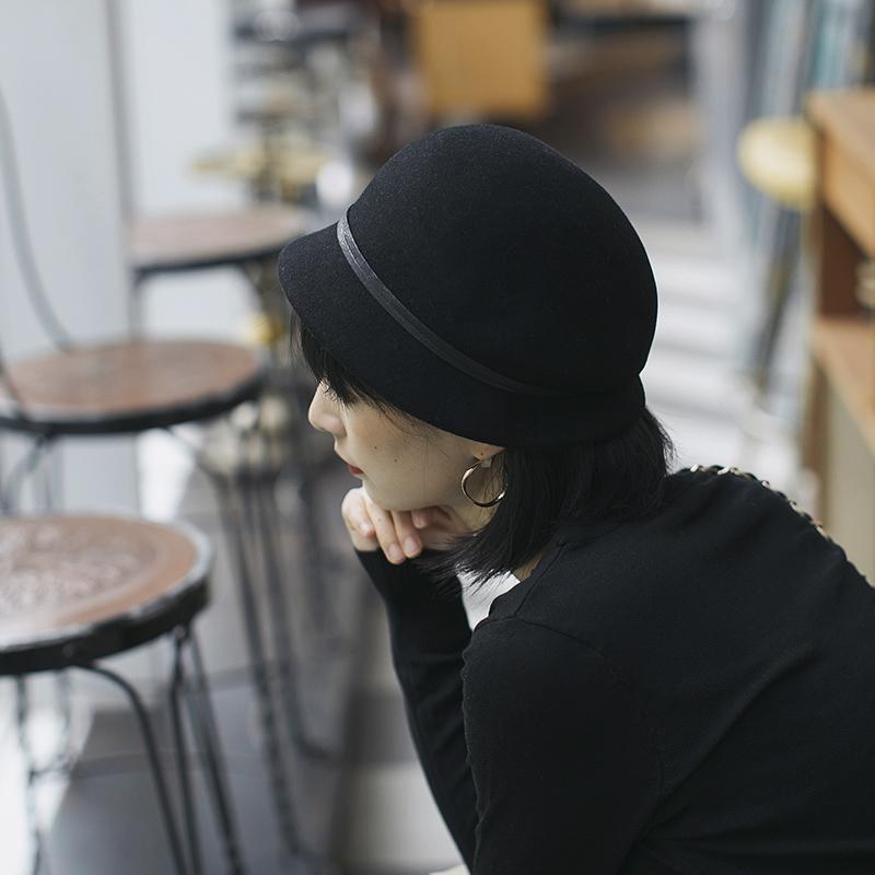 法式名媛复古文艺黑色礼帽