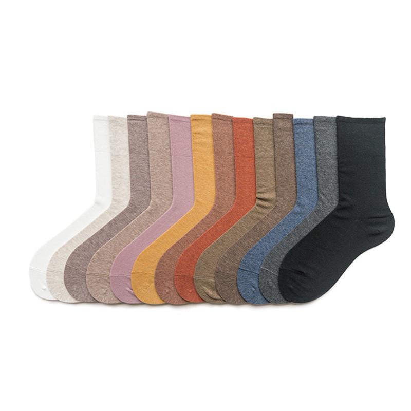 纯色中筒袜堆堆袜