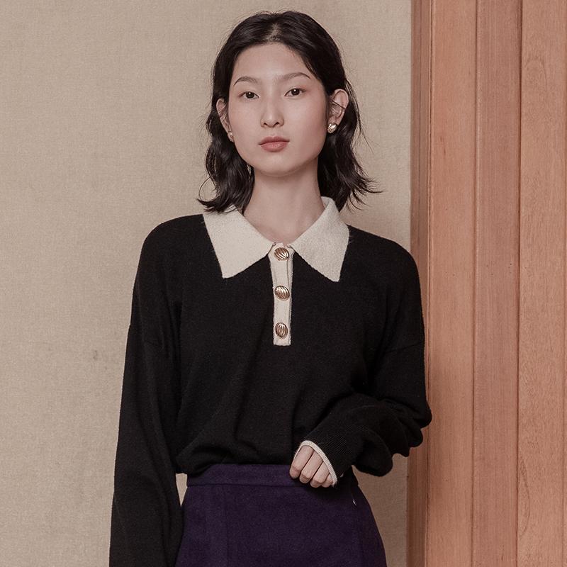 黑色法式兔毛针织衫