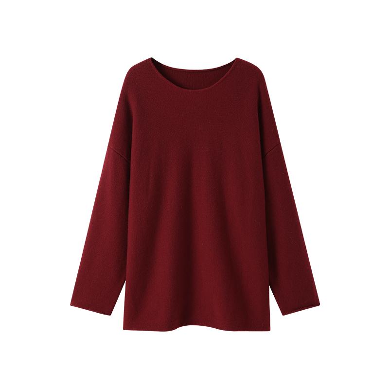纯色中长款针织衫