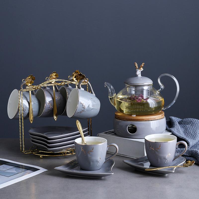 英式北欧风陶瓷玻璃花茶具套装