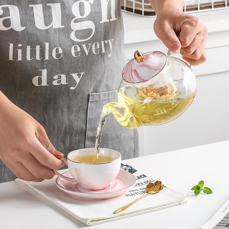 大理石纹 玻璃花草茶具套装