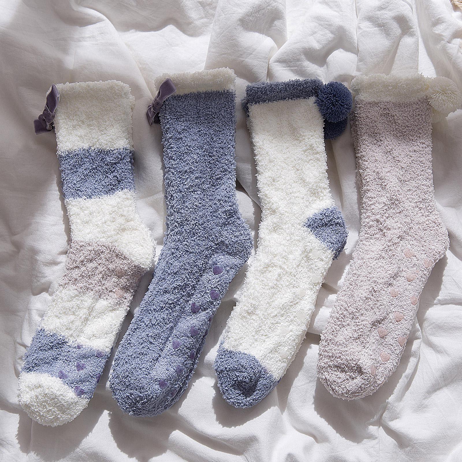 软绵绵蝴蝶结睡眠袜