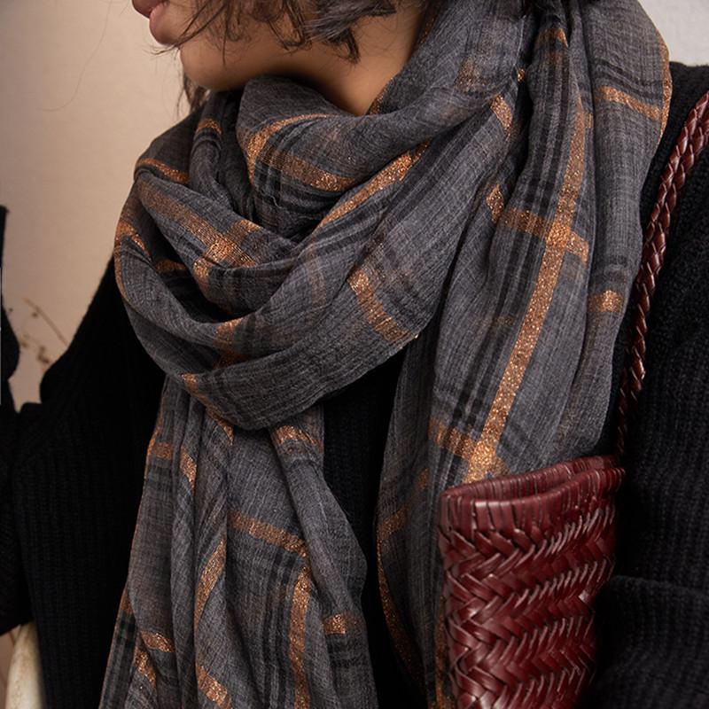 超柔金丝羊绒格子围巾
