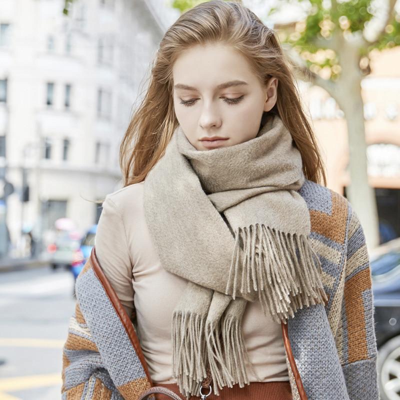 水波纹羊绒纯色围巾