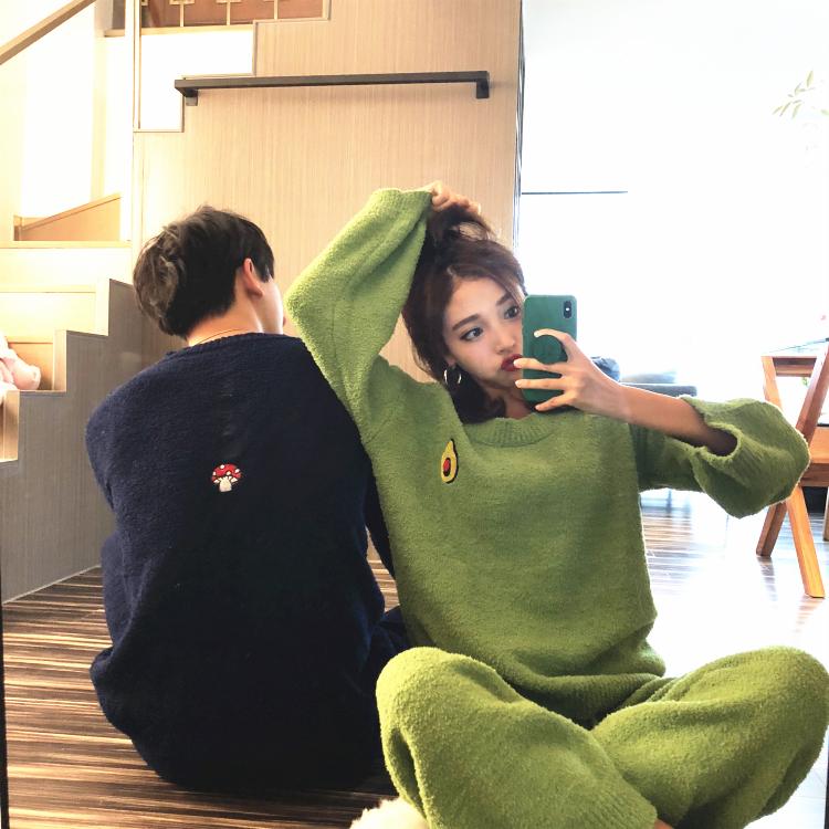 水果毛线绒睡衣