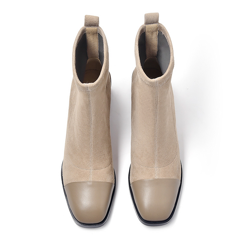 BeauToday◆粗跟真皮袜靴