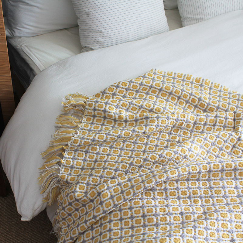 美式小方格钩针毛毯