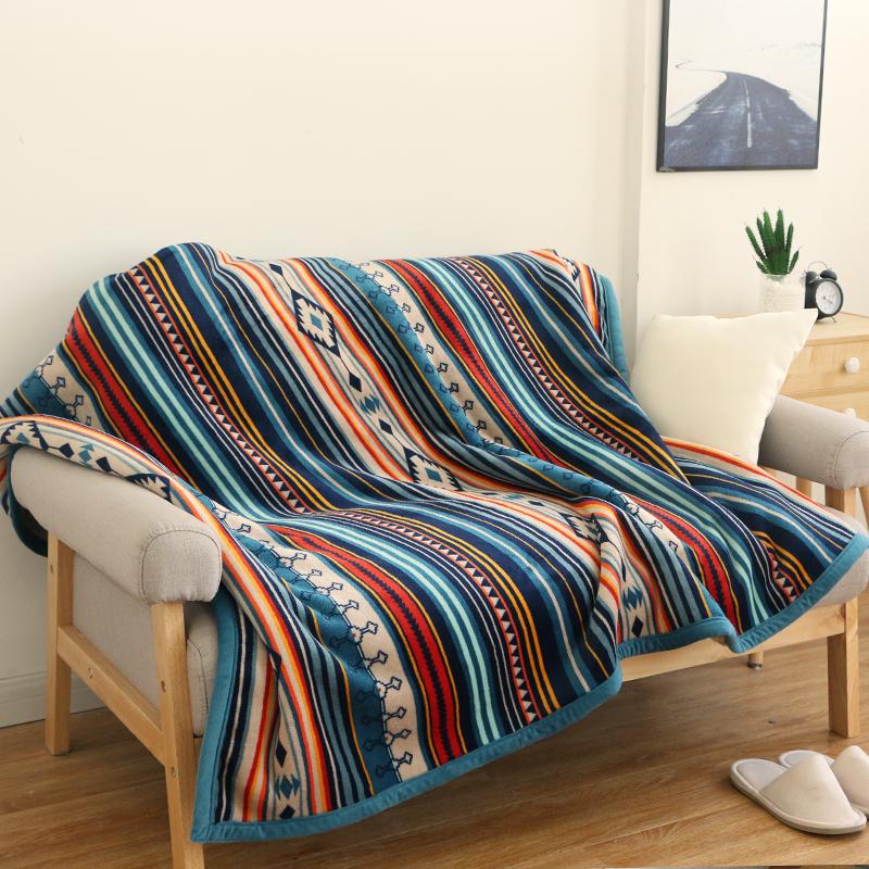 美式乡村珊瑚绒休闲毯