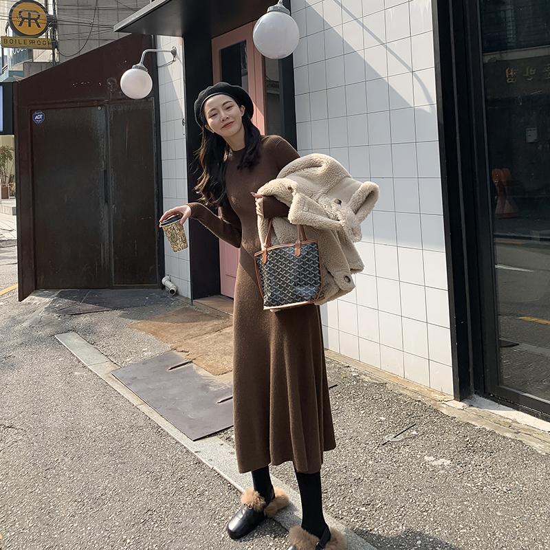 JHXC半高领长袖针织连衣裙
