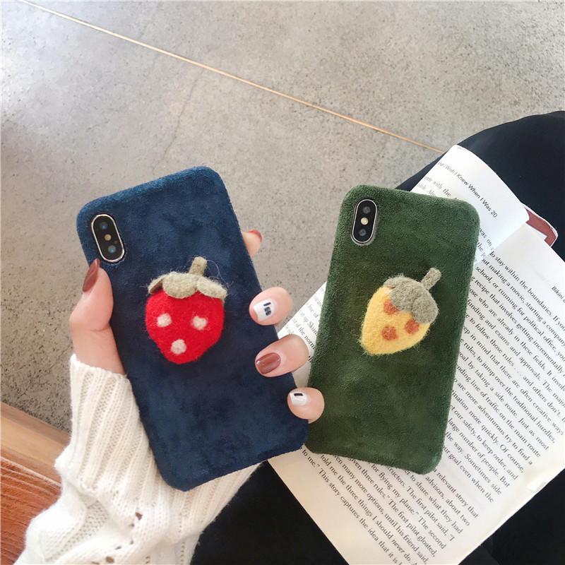 毛绒草莓手机壳