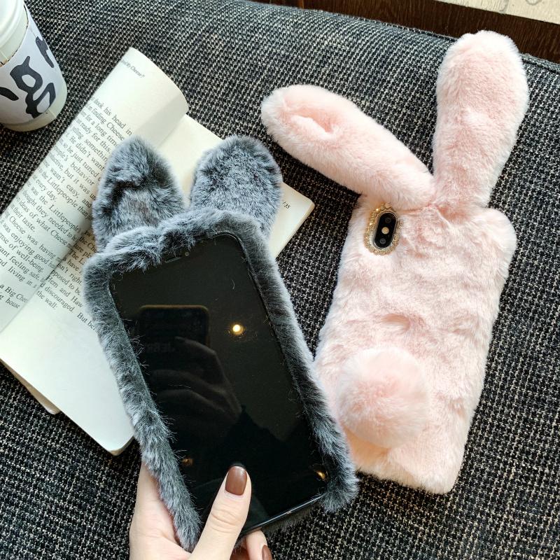 毛绒兔子手机壳