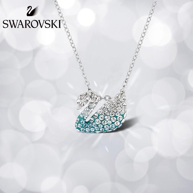 施华洛世奇蓝色天鹅(小) ICONIC SWAN 项链 时尚浪漫 女友礼物 镀白金色 5512094