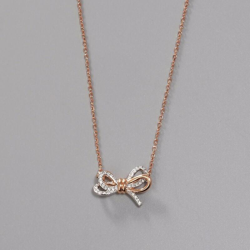 SWAROVSKI 施华洛世奇 Lifelong Bow 项链 浪漫永恒蝴蝶结时尚项链 女友礼物 镀玫瑰金色 5440636