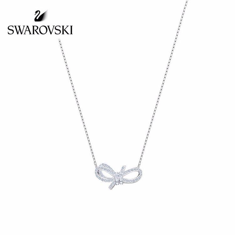 SWAROVSKI 施华洛世奇 Lifelong Bow 项链 浪漫永恒蝴蝶结时尚项链 女友礼物 镀白金色 5440643