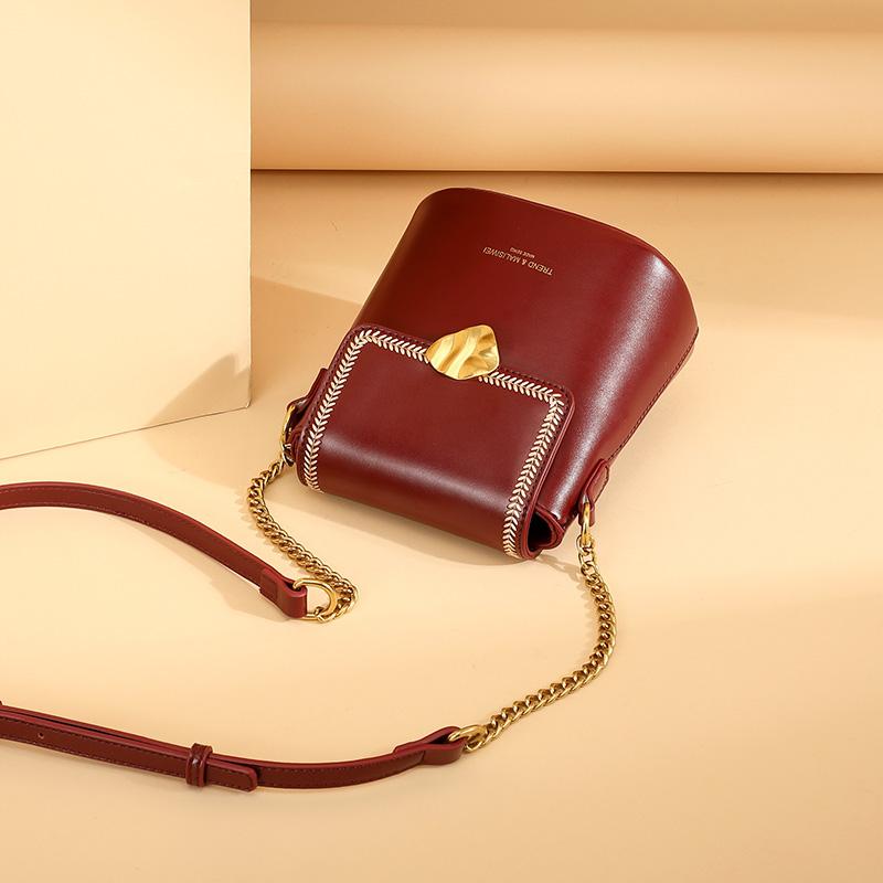 酒红单肩水桶小包包