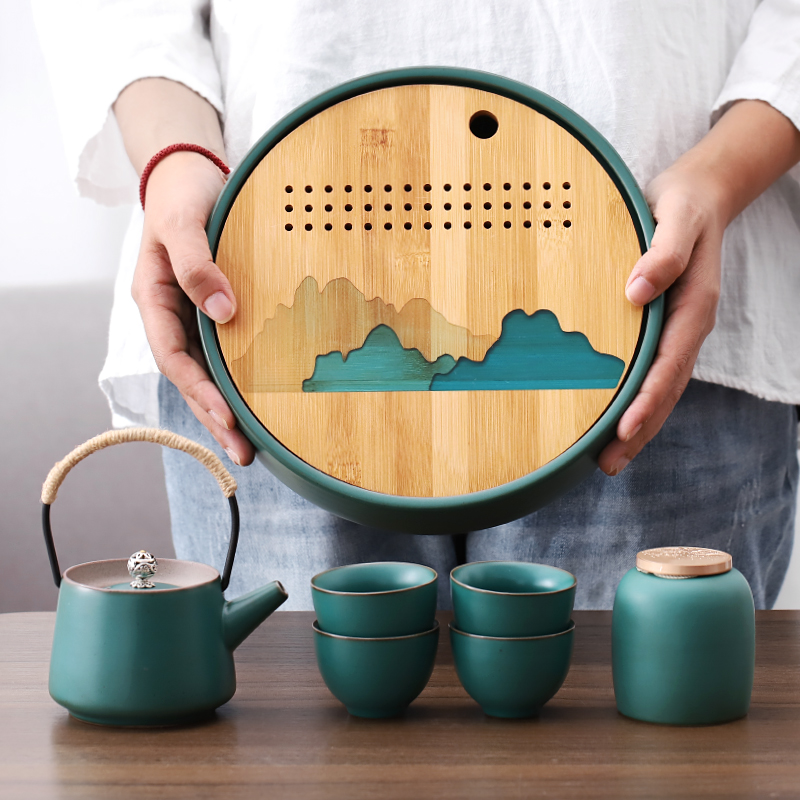 日式简约陶瓷茶壶茶杯套装